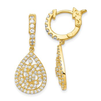Sterling Silver Gold-tone CZ Teardrop Hinged Hoop Earrings