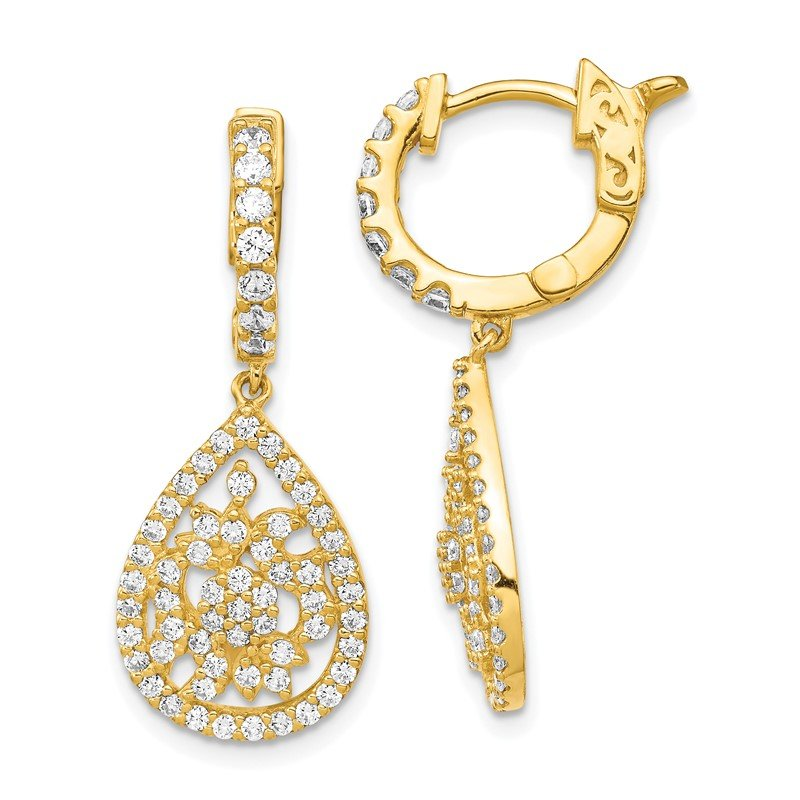 Quality Gold Sterling Silver Gold-tone CZ Teardrop Hinged Hoop Earrings