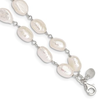 Sterling Silver 2-Strand FW Cultured Pearl 8.5in Bracelet