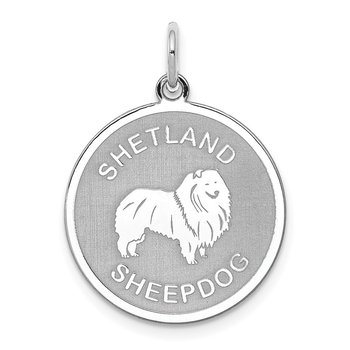 Sterling Silver Rhodium-plated Shetland Sheepdog Disc Charm