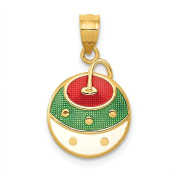 14k Enameled Christmas Ornament Pendant