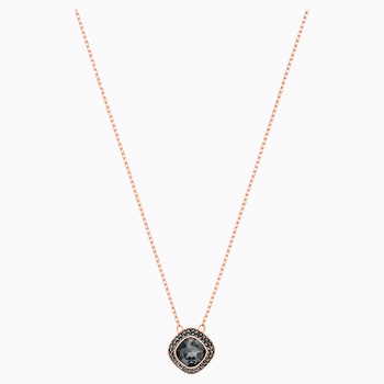 Lattitude Pendant, Gray, Rose-gold tone plated