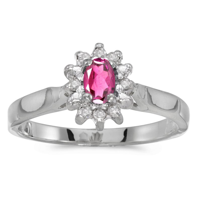 Color Merchants 10k White Gold Oval Pink Topaz And Diamond Ring