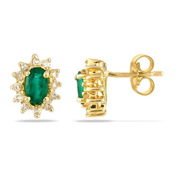 14K YG Emerald and Diamond All Purpose Earrin