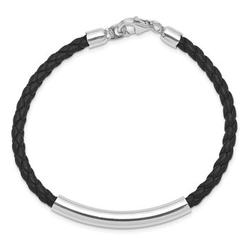 Sterling Silver Rhodium-plated Braided Black Leather Bracelet