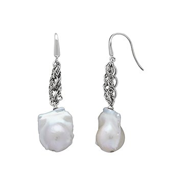 Honora Sterling Silver 13-14mm White Baroque Freshwater Cultured Pearl Chain Link Drop Earrings