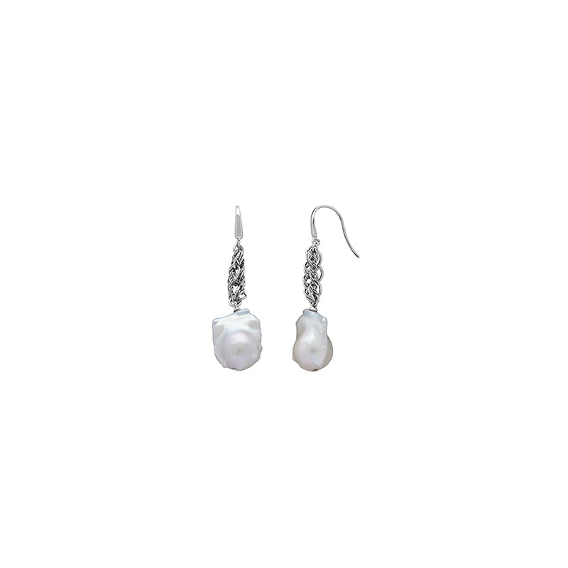 Honora Honora Sterling Silver 13-14mm White Baroque Freshwater Cultured Pearl Chain Link Drop Earrings