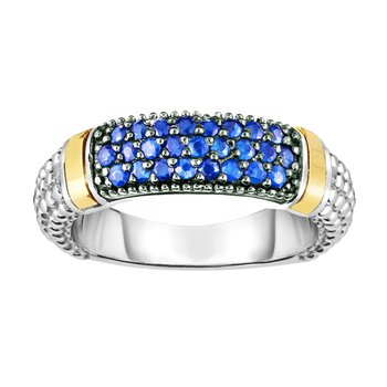 Silver & 18K Round Blue Sapphire Popcorn Ring