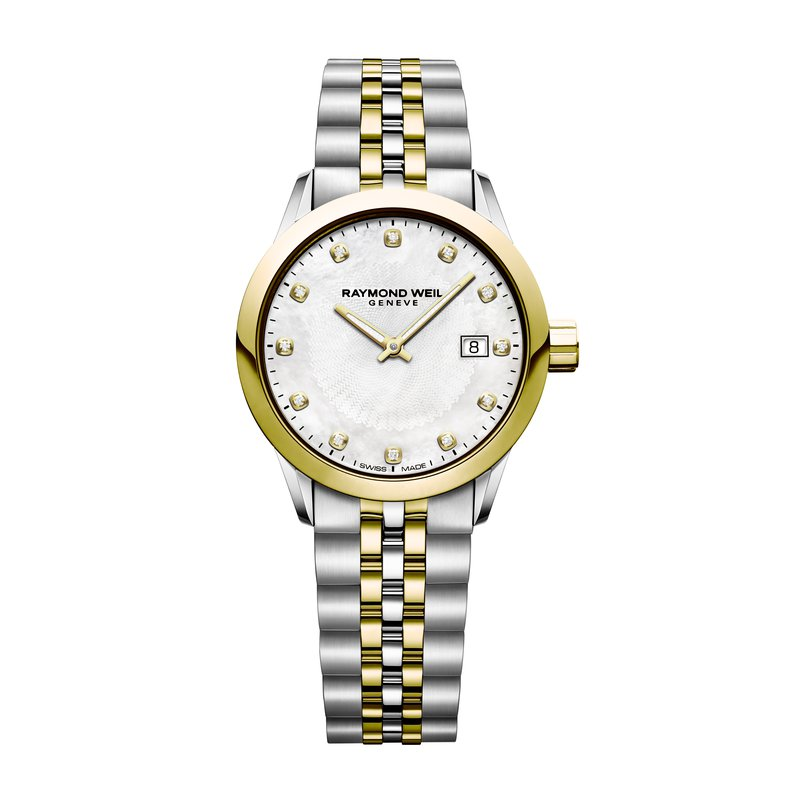 Raymond Weil Ladies Quartz Date Watch, 29mm Yellow gold PVD plated, stainless steel, 12 diamonds