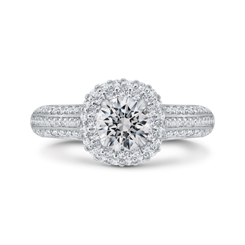 18K White Gold Three Row Round Diamond Double Halo Engagement Ring (Semi-Mount)