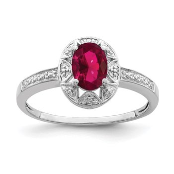 Sterling Silver Rhodium-plated Diam. & Created Ruby Ring