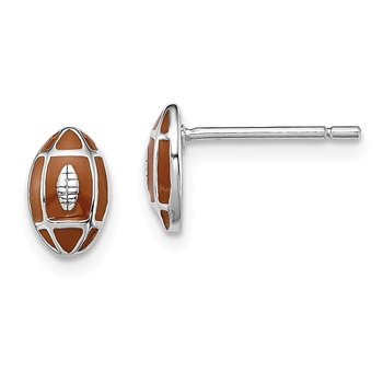 Sterling Silver Rhodium-plated Madi K Enamel Football Post Earrings