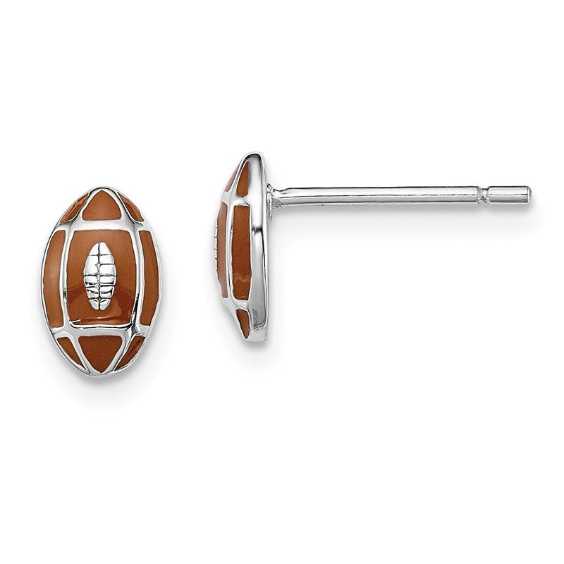 Quality Gold Sterling Silver Rhodium-plated Madi K Enamel Football Post Earrings