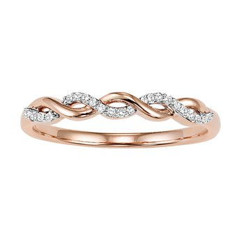 10K Rose Gold Mixable Ring 1/20 ctw