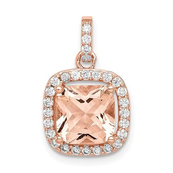 Sterling Silver Rose-tone CZ Square Halo Pendant