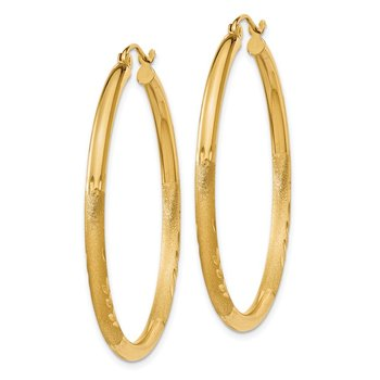 14k Satin and Diamond-cut 2.5mm Round Hoop Earrings