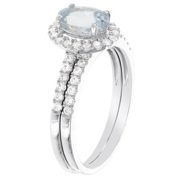 14k White Gold Oval Aquamarine and 1/2ct TDW Diamond Halo Bridal Set