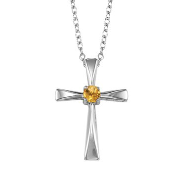 Silver Citrine Cross Pendant