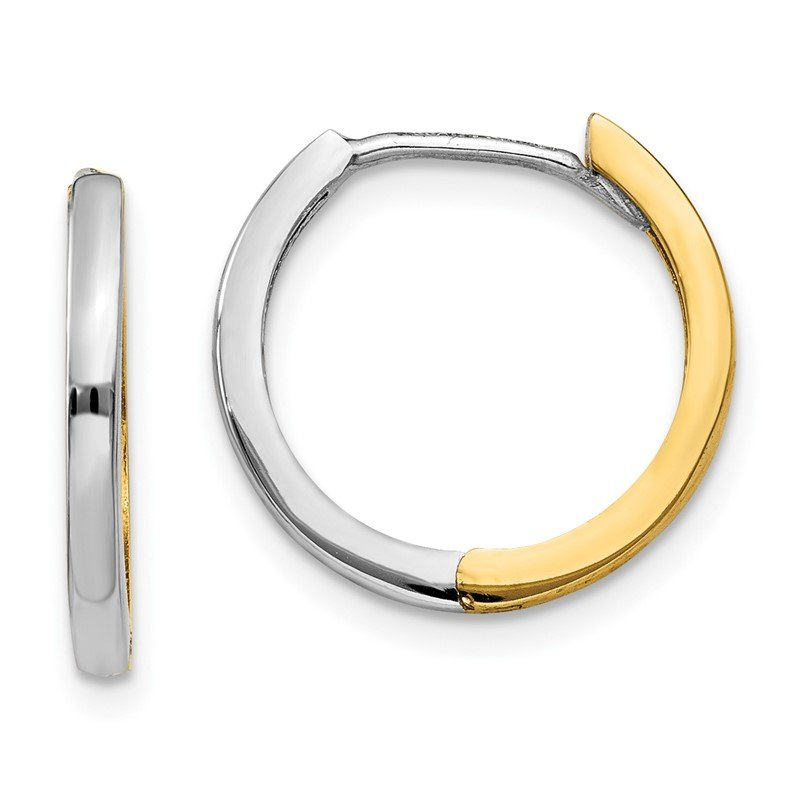 Quality Gold 14k Two-tone Round Hinged Hoop Earrings