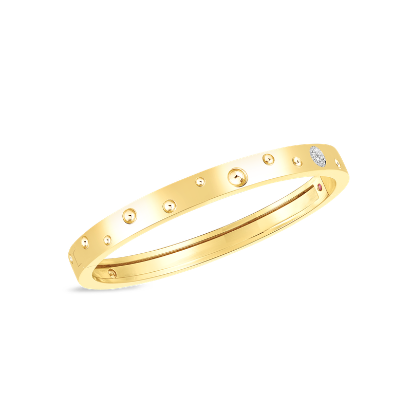 Roberto Coin 18K GOLD & DIA ACCENT POIS MOI LUNA THIN BANGLE