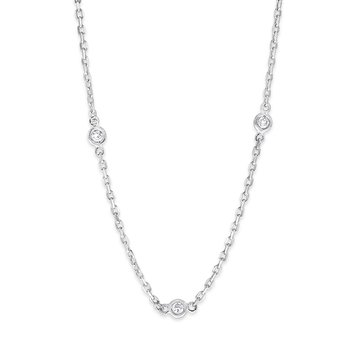 Diamond By The Yard Necklace in 14K White Gold with 21 Diamonds Weighing  .62ct tw