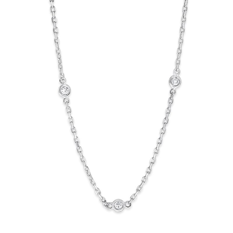 KC Designs Diamond By The Yard Necklace in 14K White Gold with 21 Diamonds Weighing  .62ct tw