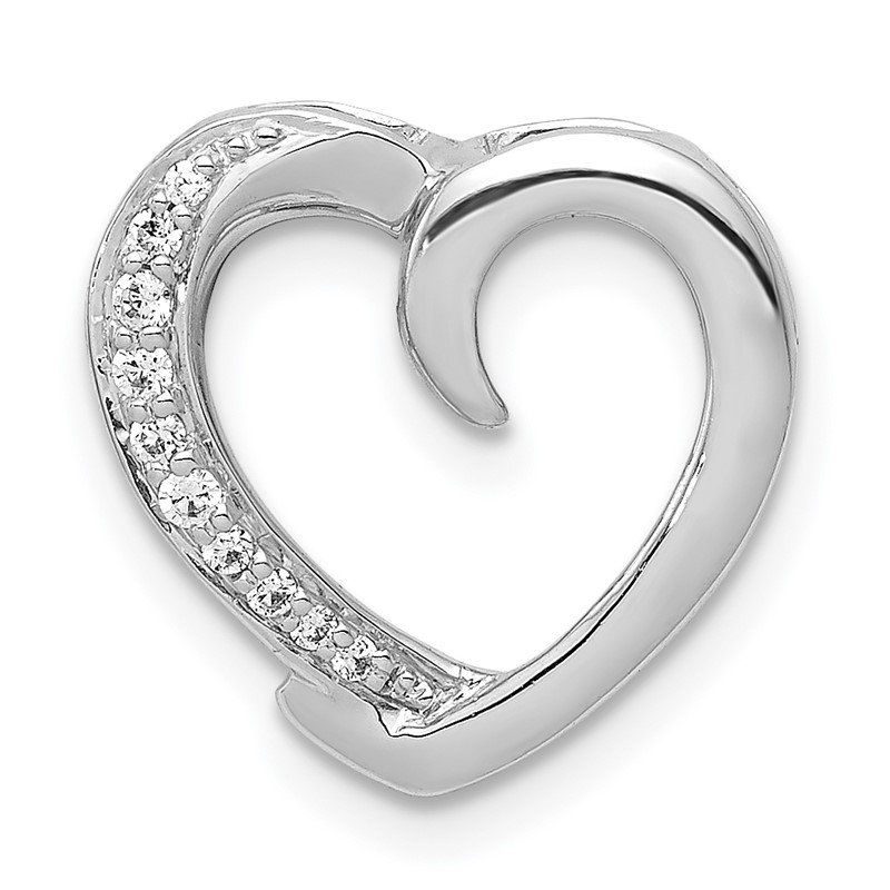 Quality Gold 14k White Gold 1/20ct. Diamond Heart Chain Slide