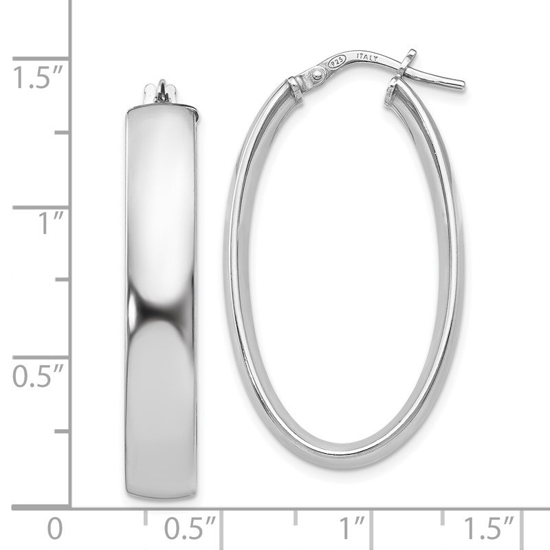 Leslie's Leslie's Sterling Silver Polished Oval Hinged Hoop Earrings