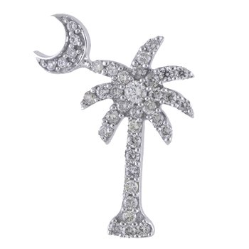 14K White Gold .50 Ct Diamond Palm Tree Crescent Moon Pendant