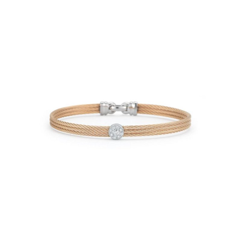 ALOR Rose Cable Classic Stackable Bracelet with Single Round Station set in 18kt White Gold