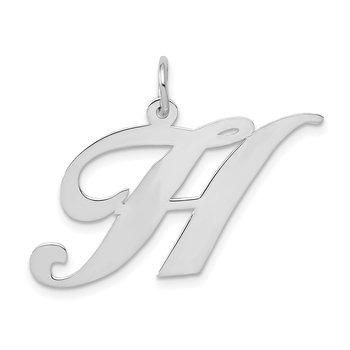 14k White Gold Large Fancy Script Letter H Initial Charm