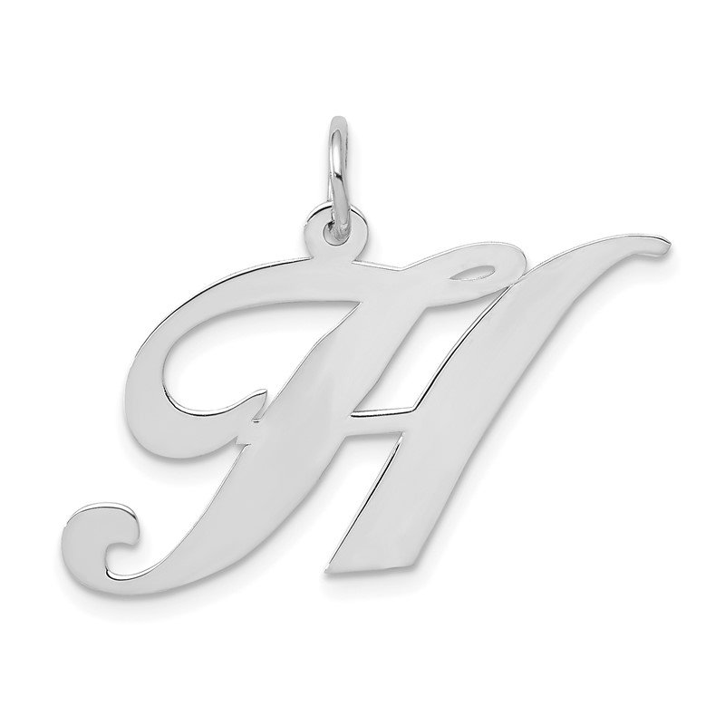 Quality Gold 14k White Gold Large Fancy Script Letter H Initial Charm