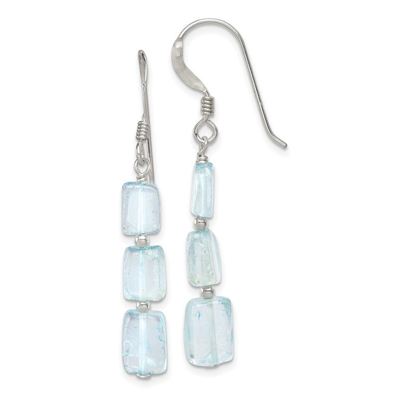 Quality Gold Sterling Silver Light Blue Quartz Stone Earrings