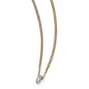 Leslie's Sterling Silver Rose & Yellow-tone CZ 3-Strand Necklace