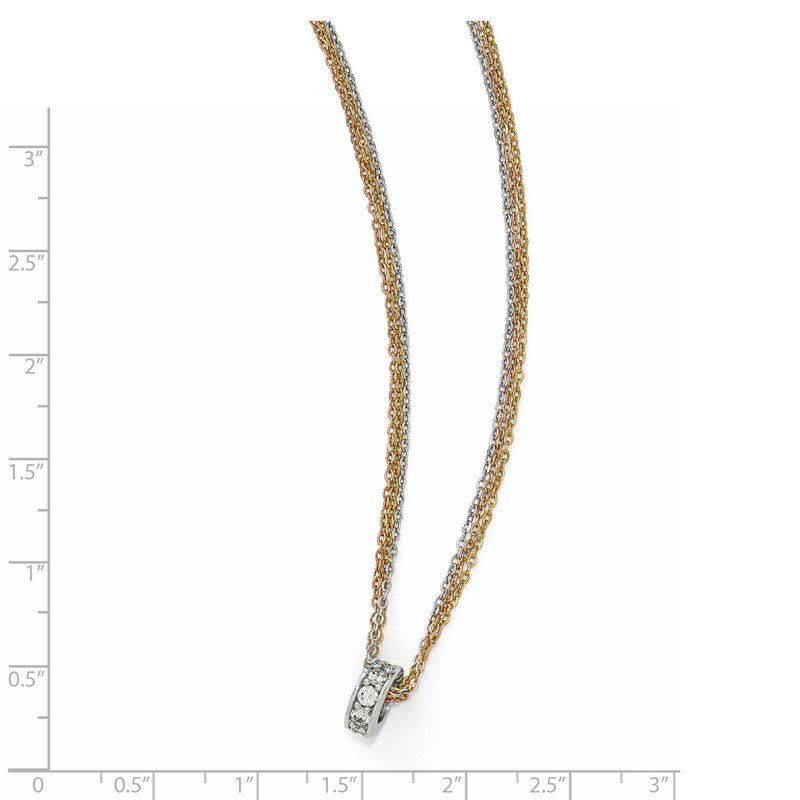 Leslie's Leslie's Sterling Silver Rose & Yellow-tone CZ 3-Strand Necklace