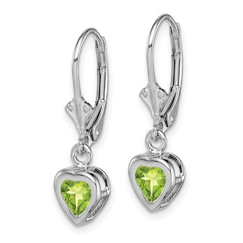 Sterling Silver Rhodium 5mm Heart Peridot Leverback Earrings