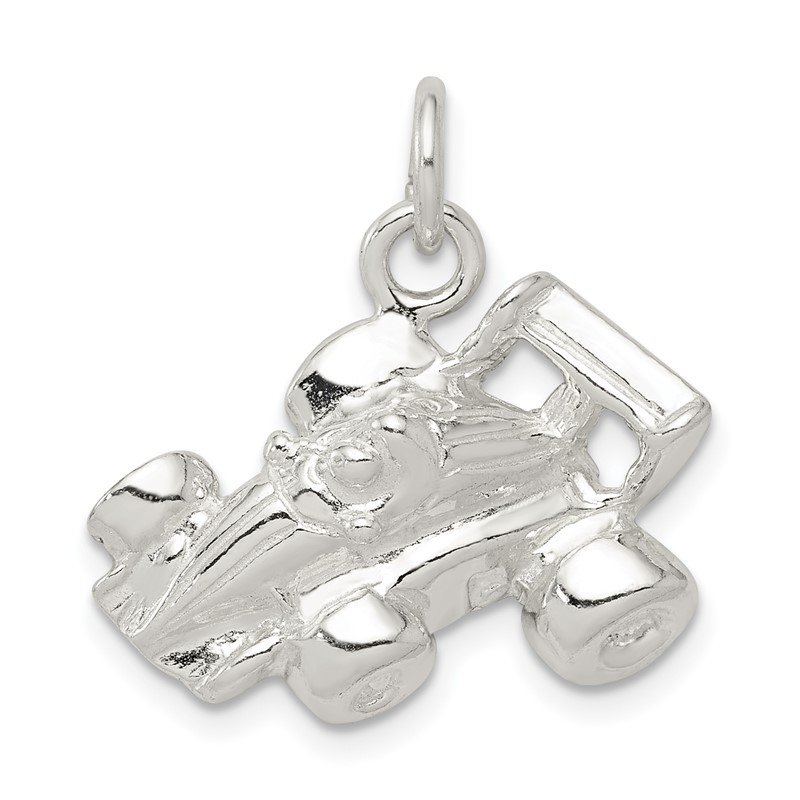 Quality Gold Sterling Silver Race Car Charm