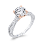 Round Cut Diamond Engagement Ring with Split Shank In 18K Two-Tone Gold (Semi-Mount)