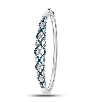 Sterling Silver Womens Round Blue Color Enhanced Diamond Braided Bangle Bracelet 3/4 Cttw
