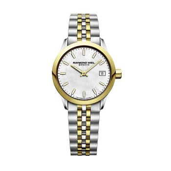 Date, 26mm Yellow gold PVD plated, stainless steel, mother-of-pearl dial
