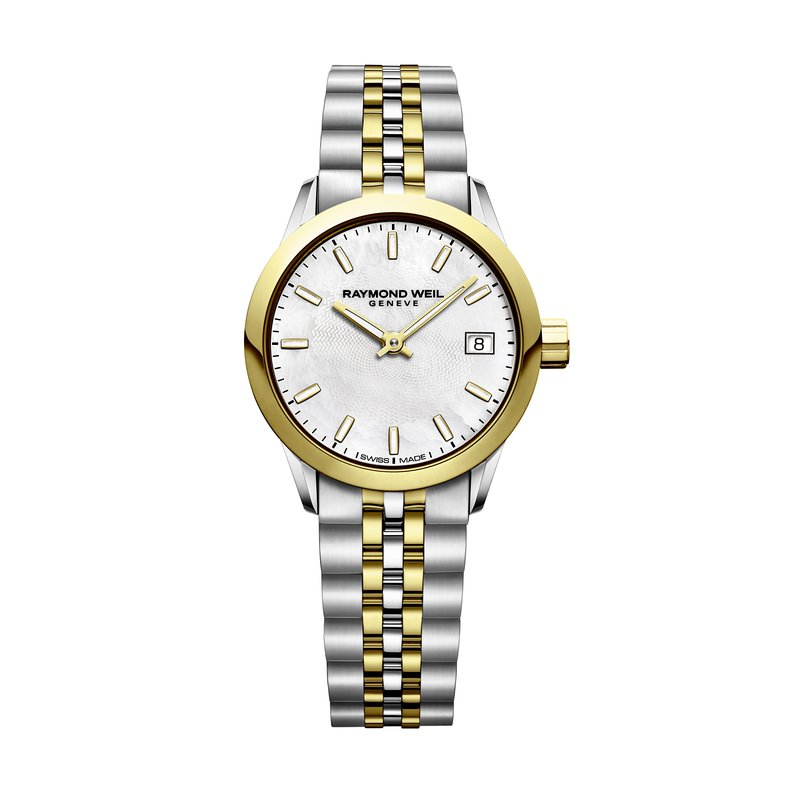 Raymond Weil Date, 26mm Yellow gold PVD plated, stainless steel, mother-of-pearl dial