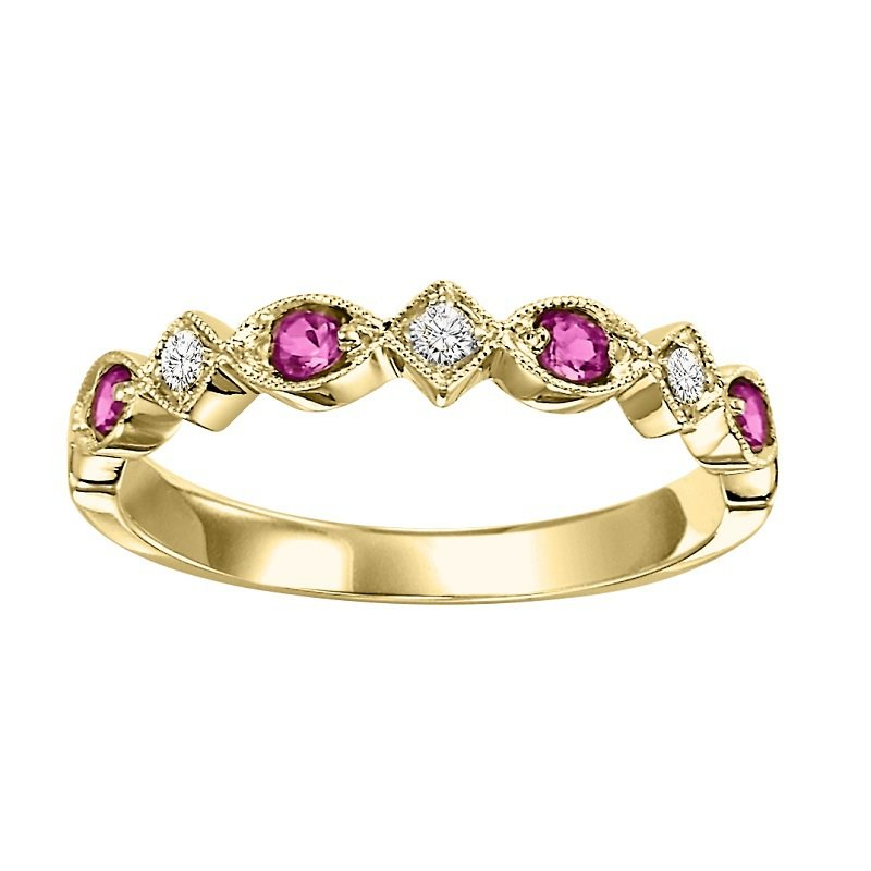 14K Ruby & Diamond Mixable Ring