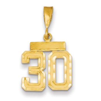 14k Small Diamond-cut Number 30 Charm