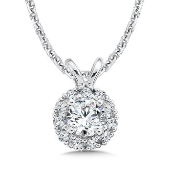Diamond Round Halo Pendant with Split Bale in 14K White Gold (1/4ct. tw.)