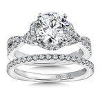 Caro74 Diamond Engagement Ring Mounting in 14K White Gold with Platinum Head (.48 ct. tw.)
