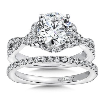 Diamond Engagement Ring Mounting in 14K White Gold with Platinum Head (.48 ct. tw.)
