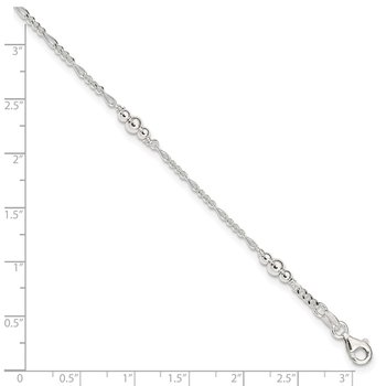 Sterling Silver Polished Bead Plus 1in ext. Anklet
