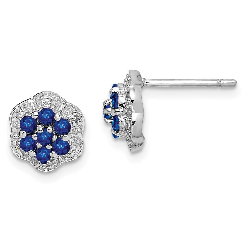 Quality Gold Sterling Silver Rhodium Sapphire & Diamond Post Earrings