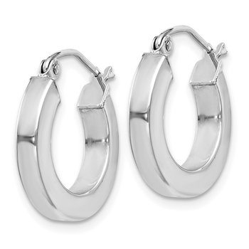 Sterling Silver Rhodium-plated 3x17mm Square Tube Hoop Earrings