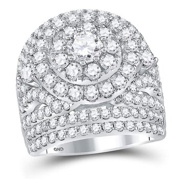 14kt White Gold Womens Round Diamond Cluster Halo Bridal Wedding Engagement Ring 5.00 Cttw
